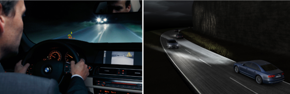 Gracias a los asistentes de visión nocturna o a los faros inteligentes,  la noche ya no te confundirá más… Fotos: BMW, Audi.